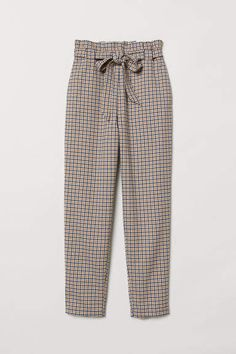 Pull-on Pants - Beige/checked - Ladies Classy Outfits, Casual Outfits, Cute Outfits, Casual Hijab Outfit, Pants Outfit, Trousers Women, Pants For Women, Clothes For Women, Fashion Pants