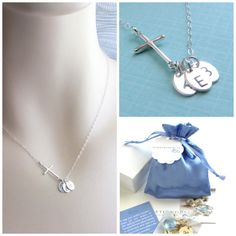 Side Cross Necklace with Initials  by ShopSomethingBlue on Etsy