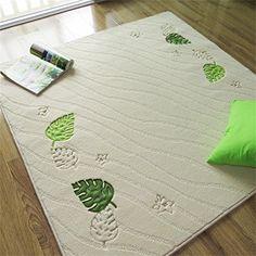 Jack Mall- Platz Kissen Computer-Fußmatte Eingangsmatte Wohnzimmer Teppich Kissen Korea Yoga Drehen Gewohnheit Monstera Blätter Teppich ( farbe : Weiß , größe : 150*150cm )