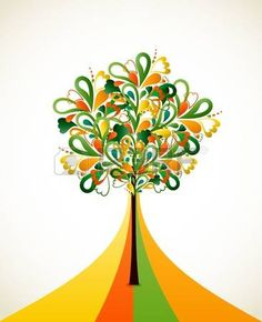 Painting abstract tree on colorful strips photo