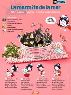 The marmitte de la mer: an easy recipe for children with mussels, an onion, cream (from Astrapi magazine, for children aged 7 to n ° by jbeaufils Easy Meals For Kids, Kids Meals, Dessert Illustration, Illustration Simple, Illustration Vector, Cooks Illustrated Recipes, Camping Breakfast, Drink Photo, Camping Gifts