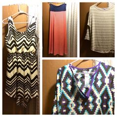 Stitch Fix #2!  Pictured: 1. 41Hawthorn ivy abstract print tab-sleeve blouse. 2. Market and Spruce corinna striped heathered dolman top - wanted to keep, but it's too warm for summer and a little too big. 3. Gilli loma diagonal stripe maxi skirt - so pretty! Sadly didn't look good on me. 4. Papermoon mada chevron sleeveless dress - kept/purchased!  Not pictured:  5. Sanctuary Kenny faux leather detailed jogger pant. Referral link: https://www.stitchfix.com/referral/3632106 #stitchfix