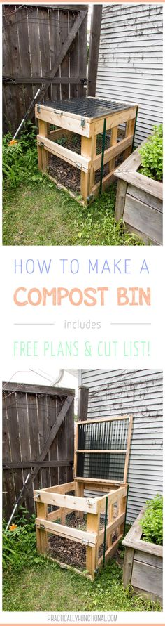 This DIY compost bin is sturdy, easy to open, has good airflow, and latches closed to keep out critters! Free plans and full tutorial here! #yardandgardenideas #compostbinideas #organicgardening #practicallyfunctional