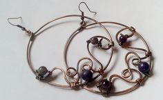 Beautiful creole copper wire earrings with natural by Tangledworld