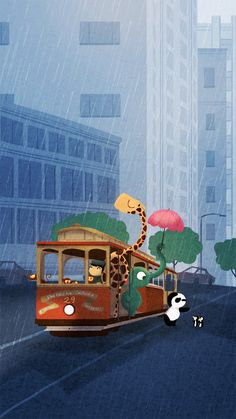 "Cable Car Print, Rain Painting, San Francisco Art, Giraffe Painting, California, Wall Decor,  - ""Here comes the rain"" - Art Print 13x19"
