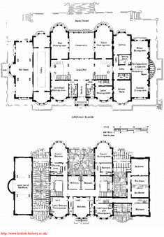 Kensington House, site and floor plans, James Knowles junior, architect, 1873–6. Demolished.  Old houses are cool too!