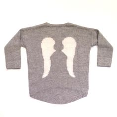 Kids Boutique Clothing - Girls Angel Wings Sweater/ Heather Grey