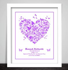 Personalised Bridesmaid Thank You Gift Unique Unusual Print Wedding Present Maid