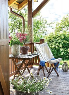 Scandinavian Cottage Decor With Rustic Touches - DigsDigs Porch Veranda, Porch And Balcony, Porch Swing, Front Porch, Outdoor Rooms, Outdoor Gardens, Outdoor Living, Outdoor Furniture Sets, Outdoor Decor