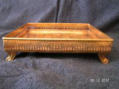 ANTIQUE BRASS SERVICE TRAY WITH PINEAPPLE DESIGN HAND CRAFTED IN INDIA