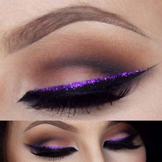 I would probably skip the sharp cut crease and go for something softer to not overshadow the pop of purple
