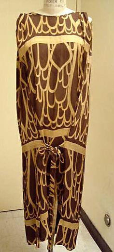 Dress Wiener Werkstätte Designer: Print probably by Josef Hoffmann  Date: 1924 Culture: Austrian Medium: silk Accession Number: 1982.52