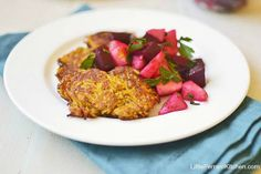 Butternut Squash Latkes with Chunky Apple Beet Salsa