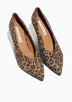 & Other Stories image 2 of Pointed Suede Pump in Leo Print