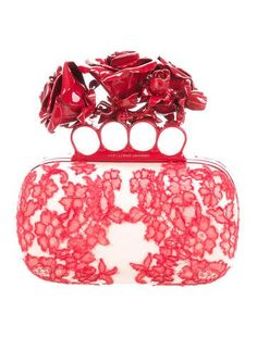 Alexander McQueen Roses Lace Knuckle Duster Box Clutch w/ Tags