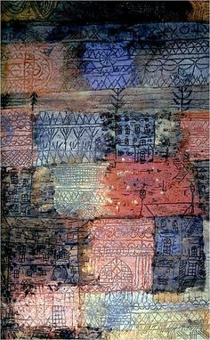 "Mixed-Media Sgraffito Patterns on Colour Fields - would do with yr - image inspiration:""Villas Florentinas"", 1926 - Paul Klee Franz Marc, Wassily Kandinsky, Abstract Expressionism, Abstract Art, Abstract Paintings, Oil Paintings, Painting Art, Landscape Paintings, Paul Klee Art"