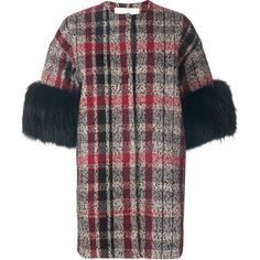 Ava Adore three-quarters sleeves tartan coat (860 JOD) ❤ liked on Polyvore featuring outerwear, coats, black, 3/4 sleeve coat, three quarter coat, plaid coat, ava adore and fur coat