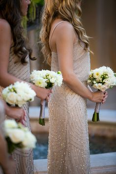 Subtle sparkly taupe bridesmaid dresses