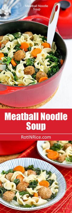 This warm and delicious Meatball Noodle Soup is comfort in a bowl. Very easy to prepare and perfect for cold winter evenings.   Brought to you by No Yolks #noyolks #ad | RotiNRice.com