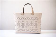 Handmade leather bag, modern folkore, folk art, folk clothing, folk inspired motif