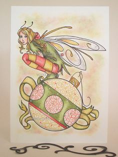 ORIGINAL Drawing Holiday Drawing Fairy Art  Hand Drawn by VCAD, $12.00
