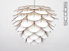 Hängelampe in Weiß mit Schuppen-Struktur / modern lamp, white by SCOBIS via DaWanda.com