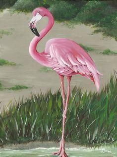 Pink Flamingo #2 ..acrylic.......Dana Carter