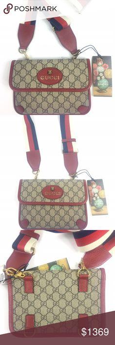 0b23db9210d1 Gucci #489617 GG Supreme Totem Cat Messenger Bag * Beige/Ebony GG Supreme  Coated
