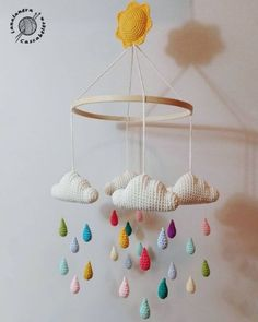 Baby Mobile Ideas Baby Crochet Mobile Cloud For 2019 Crochet Baby Toys, Crochet Patterns Amigurumi, Crochet Gifts, Baby Knitting, Amigurumi Doll, Knitting Patterns, Mobiles En Crochet, Crochet Mobile, Baby Ballon