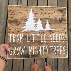 Awe Inspiring Rustic Nursery Ideas little seeds grow mighty trees sign nursery sign rustic nursery handmade sign country nursery boys nursery baby shower gift, wood house children rustic nursery celebrities love rustic nurseries Nursery Signs, Nursery Room, Woodsy Nursery, Cabin Nursery, Woodland Baby Nursery, Woodland Baby Shower Decor, Woodland Room, Nursery Canvas Art, Nursery Crafts