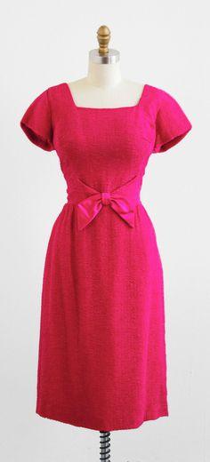 vintage 1960s hot pink Mad Men wiggle dress.