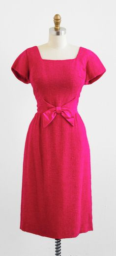 vintage 1960s hot pink Mad Men wiggle dress.