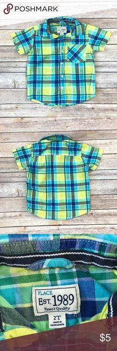 Children's Place Plaid Shirt Blue, turquoise, yellow, green & white plaid short sleeved buttoned shirt. Chest pocket. 100% cotton. Fabric has softened a little from the wash. 19979-712 & 19980-712 Price is firm - please bundle for a discount. Children's Place Shirts & Tops Button Down Shirts