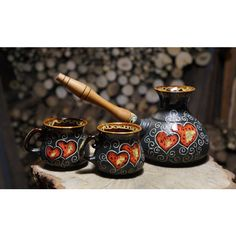 Coffee set Hearts Heart gifts Coffee maker Turkish coffee Set Ceramic... ($37) ❤ liked on Polyvore featuring home, kitchen & dining, drinkware, ceramic mugs, heart mug, heart coffee cup, water mug and valentines day mug