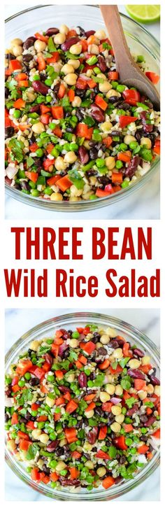Three Bean Wild Rice Salad (Delicious.  Used edamame in lieu of peas, used 2 jalapenos, added in homemade pickled onions, as well.  Added in 6 oz frozen corn, crushed red pepper flakes and cracked peppercorns.  Makes a huge amount!  May add fresh ginger root next time.)