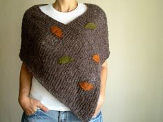 Knit Taupe Brown Poncho with Suede Autumn Leaves, AOD