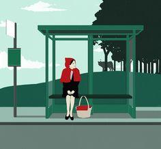 Pinzellades al món: La Caputxeta Vermella i el llop: segueix la persecució… Cute Wallpaper Backgrounds, Cute Wallpapers, Bus Stop Design, Bus Art, Charles Perrault, Wolf, Custom Website Design, Communication Art, Environment Concept Art