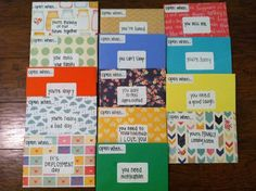 """Gianna Simon : """"Open When"""" letters I made for my boyfriend to take with him when he leaves for Afghanistan next month."""""""