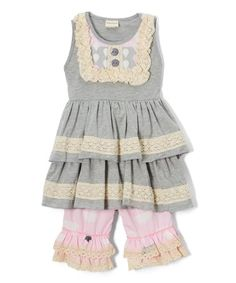Another great find on #zulily! Gray & Pink Cloud Lace-Trim Tunic & Shorts - Toddler & Girls #zulilyfinds