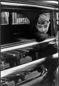 Audrey Hepburn photographed by Dennis Stock in New York during the filming of Sabrina, 1954.