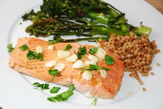 Lemon Garlic Salmon Recipe � 5 Points - Simple, yet succulent, this tender and juicy salmon makes a wonderful Weight Watchers dinner recipe at just 5 Points + per serving. The lemon and garlic marinade offer a wonderful flavor to the salmon without being overbearing.