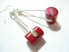 Red Coral Hammered Silver Wire Earrings by AnnaRecycle on Etsy