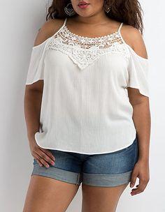 Plus Size Crochet Neck Cold Shoulder Top: Charlotte Russe