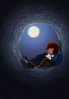 Moon and book