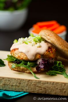 This looks so good!!!!! Buffalo Turkey Burger Recipe!!! |arismenu.com
