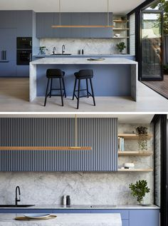 A Dusty Blue Kitchen Sets The Tone In This House Renovation Kitchen Ideas - Blue-grey cabinets have been combined with marble, to create a modern and eye-catching kitchen. Blue Kitchens, Grey Kitchen Interior, Kitchen Remodel, Kitchen Decor, Kitchen Layout, Modern Kitchen Design, Kitchen Sets, Kitchen Renovation, Kitchen Design