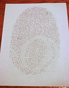 about me fingerprint.  enlarge your fingerprint then write about yourself on all the lines.