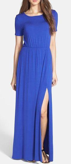Nordstrom  Loveappella Cinch Waist Stretch Knit Maxi Dress