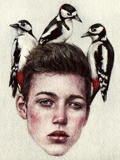 black and white - head with birds - waterecolor Nikolay Tolmachov - Nicolas Tolmachev Tom Bagshaw, Ukrainian Art, A Level Art, Wow Art, Watercolor Portraits, Portrait Art, Traditional Art, Art Pictures, Art Inspo