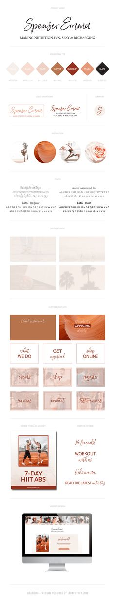 Branding Board for Spenser Emma, an Influencer and Health Coach in San Diego. We used a neutral, yet warm color palette and added a touch of feminism. Coral, nudes, tans, white and black. Palm trees. Fitness. Health. Nutrition. Click through to view her full brand + website project from start to finish! #brandingboard #brandboard #brandidentity #brandinspo #brandinginspo #feminine Branding Portfolio, Warm Colour Palette, Custom Website, Brand Board, Online Entrepreneur, Blog Design, Health Coach, Personal Branding, Logo Inspiration
